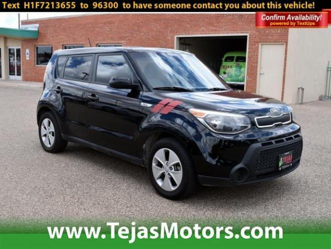 2015 Black /N/A Kia Soul 5dr Wgn Auto Base (KNDJN2A23F7) with an Engine: 1.6L Gamma GDI I4 engine, Automatic transmission, located at 4110 Avenue Q, Lubbock, 79412, (806) 687-6878, 33.556553, -101.855820 - Photo #0