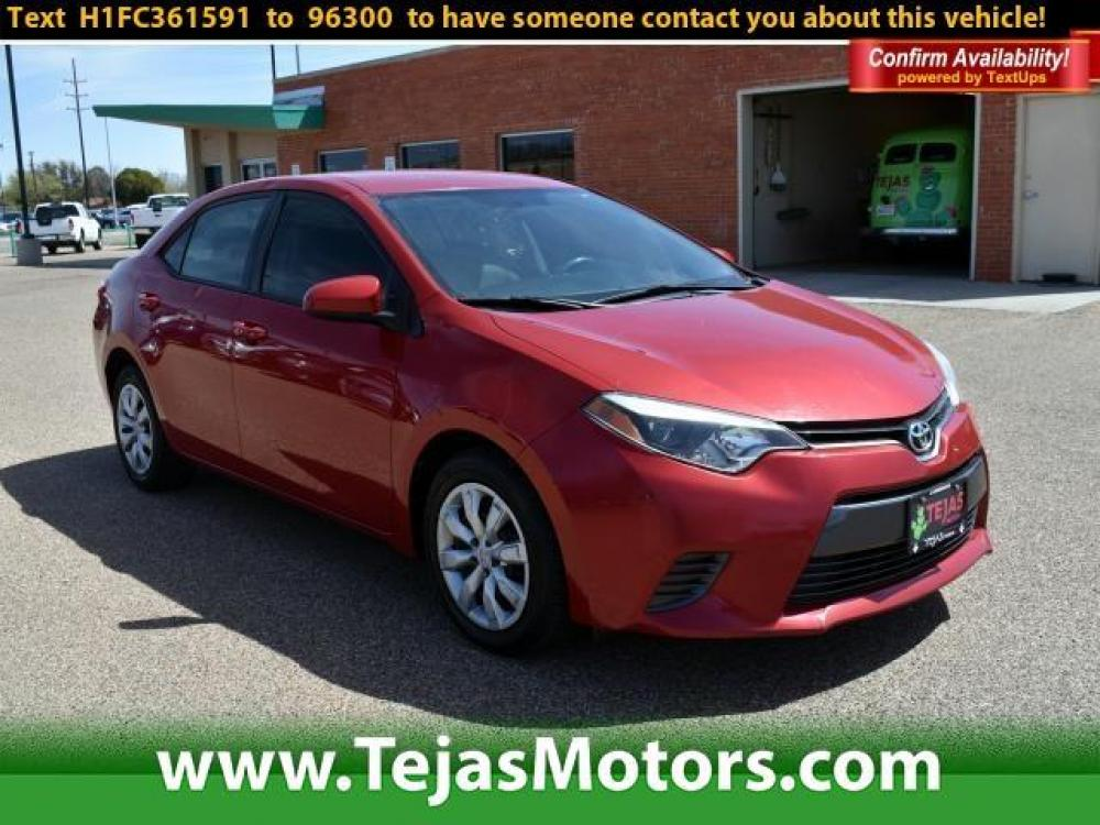 2015 Barcelona Red Metallic /Ash Toyota Corolla 4dr Sdn CVT LE (Natl) (2T1BURHEXFC) , Automatic transmission, located at 4110 Avenue Q, Lubbock, 79412, (806) 687-6878, 33.556553, -101.855820 - Photo #0